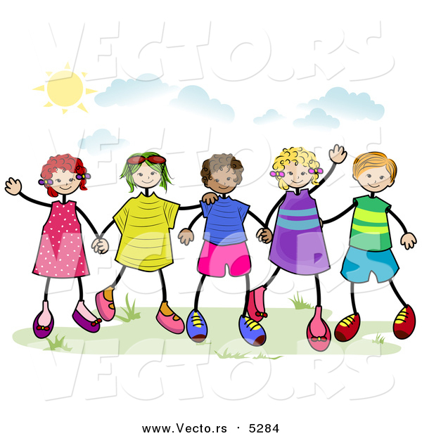 600x620 Vector Of A Group Of Stick Children Holding Hands Outside By Bnp