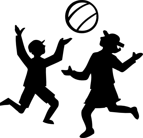 600x577 Silhouette Of Kids Playing With A Ball Clip Art Free Vector