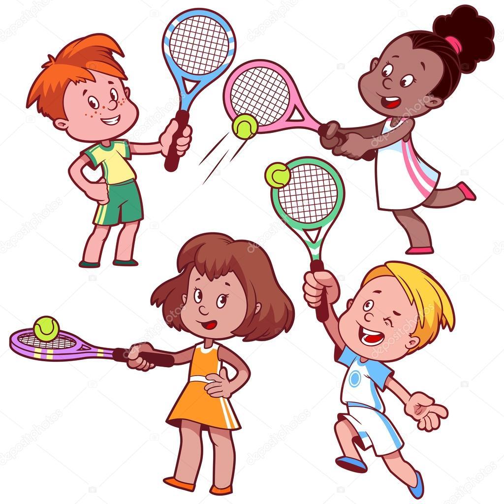 1024x1024 Cartoon Kids Playing Tennis. Vector Clip Art Illustration On A W