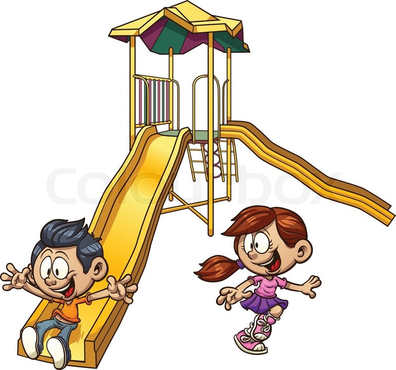 800x748 Cartoon Kids Playing On A Slide. Vector Clip Art Illustration