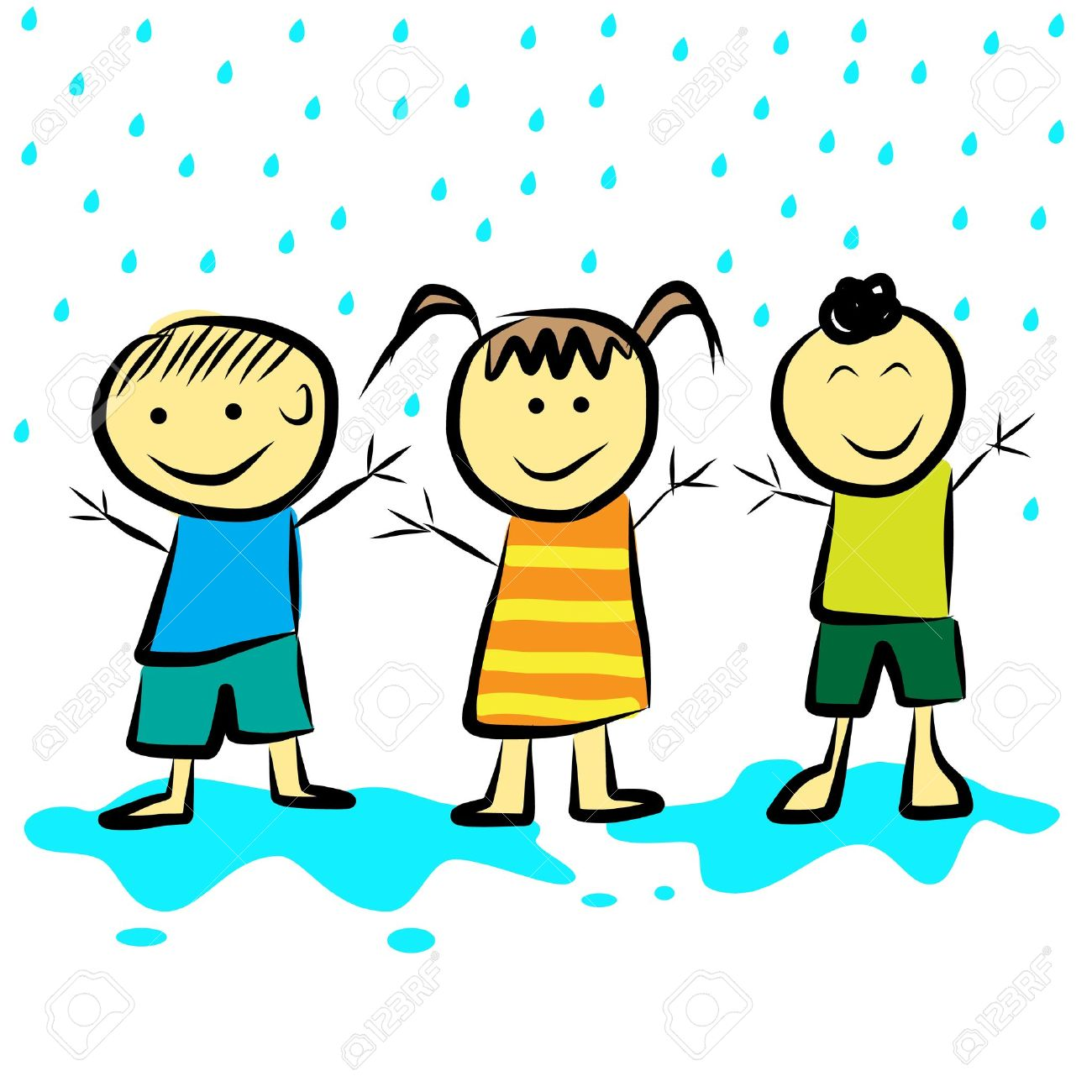 1300x1300 Kids Playing In The Rain Format Royalty Free Cliparts, Vectors