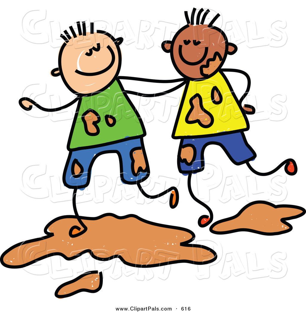 1024x1044 Pal Clipart Of A Childs Sketch Of Two Boys Playing Together In Mud