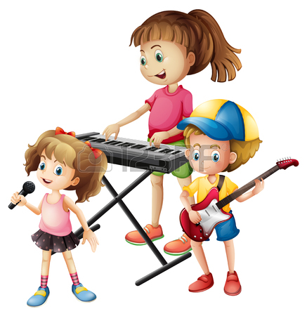 437x450 Children Playing Musical Instruments Together Illustration Royalty