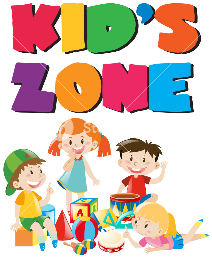 821x1000 Kid's Zone Poster With Kids And Toys Illustration Royalty Free