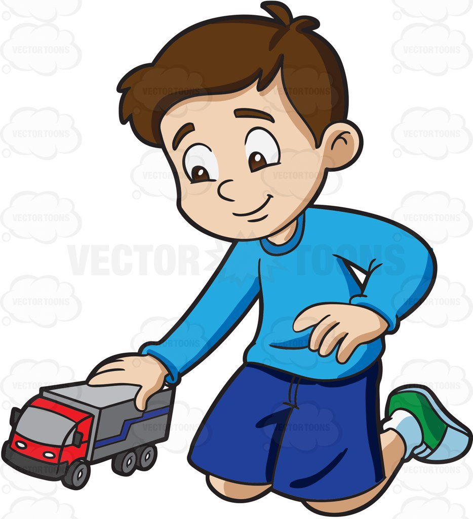 934x1024 A Young Boy Playing With His Toy Truck Cartoon Clipart