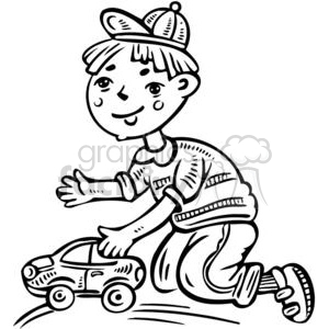 300x300 Royalty Free Boy Playing With His Toy Car 381583 Vector Clip Art
