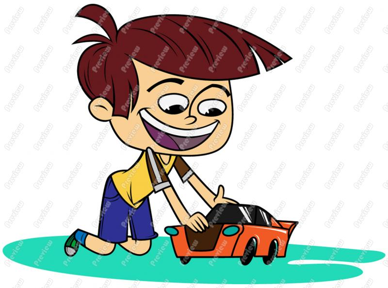 800x594 Boy Child Playing With Toy Car Clip Art