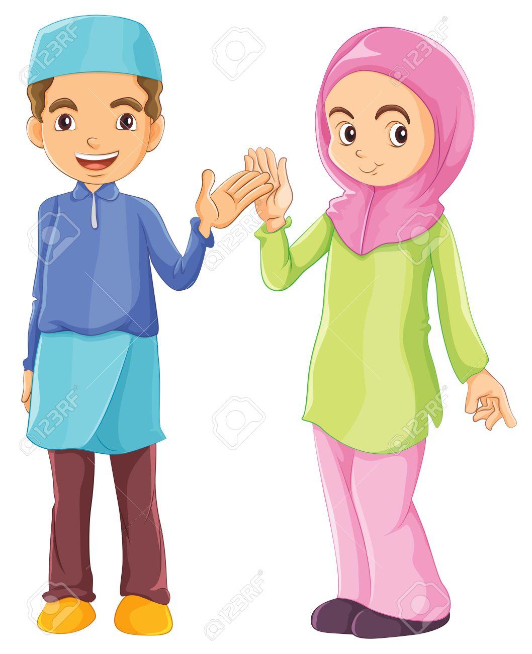 1058x1300 Muslim Kids Clipart Black And White