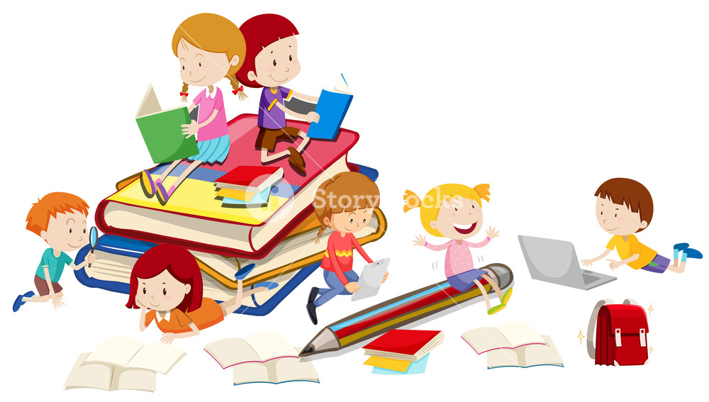 Kids Reading Together Clipart Free Download Best Kids