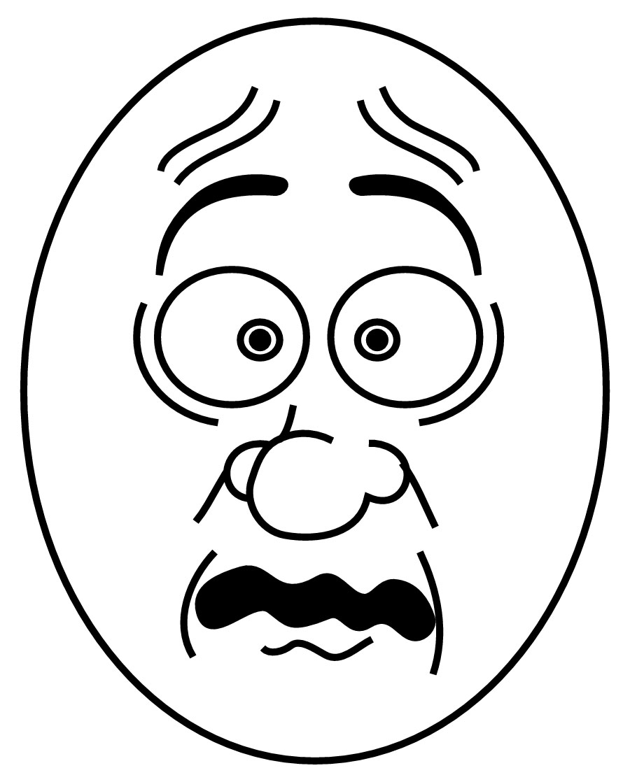 900x1118 Scared Face Kids Coloring Page