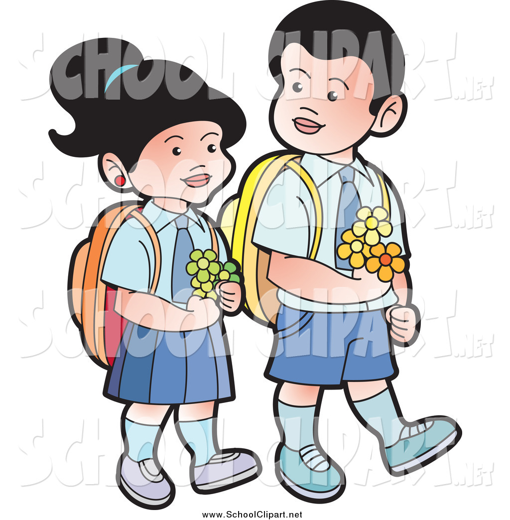 1024x1044 Clip Art of Happy School Kids Carrying Flowers by Lal Perera