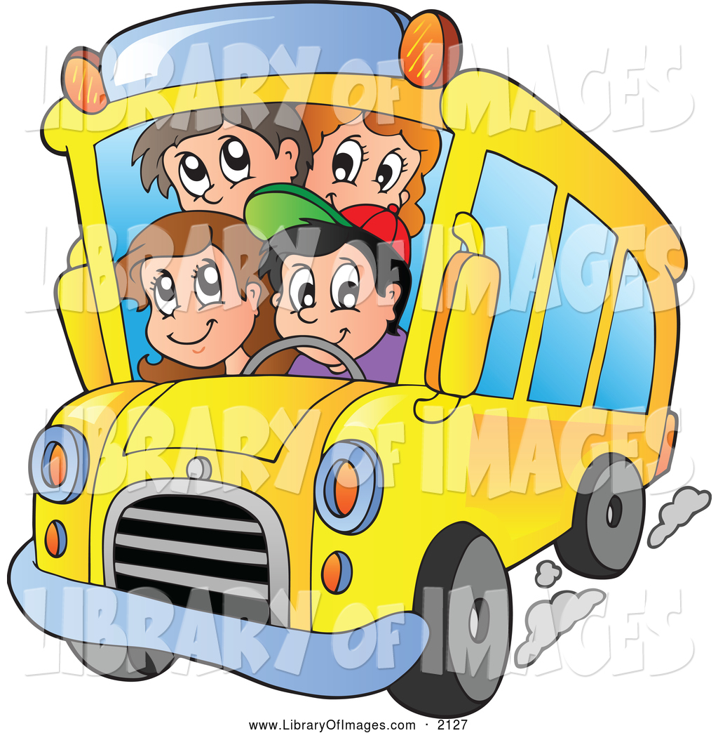 1024x1044 Clip Art of a Happy School Kids on a Bus by visekart