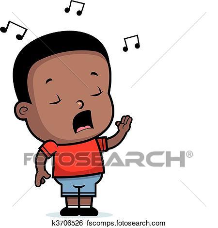 450x470 Clipart Of Boy Singing K3703881