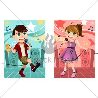 325x325 Singing Kid Gl Stock Images