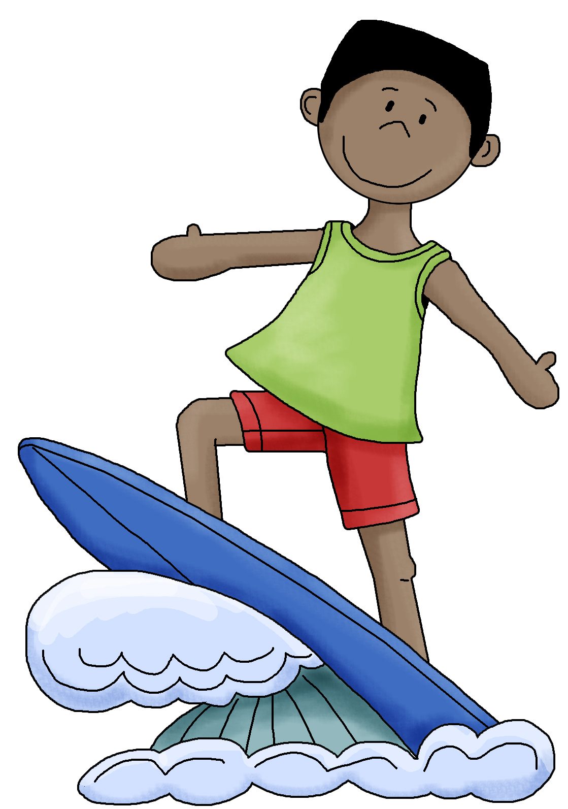 1119x1593 Kids On Surfboard Clipart