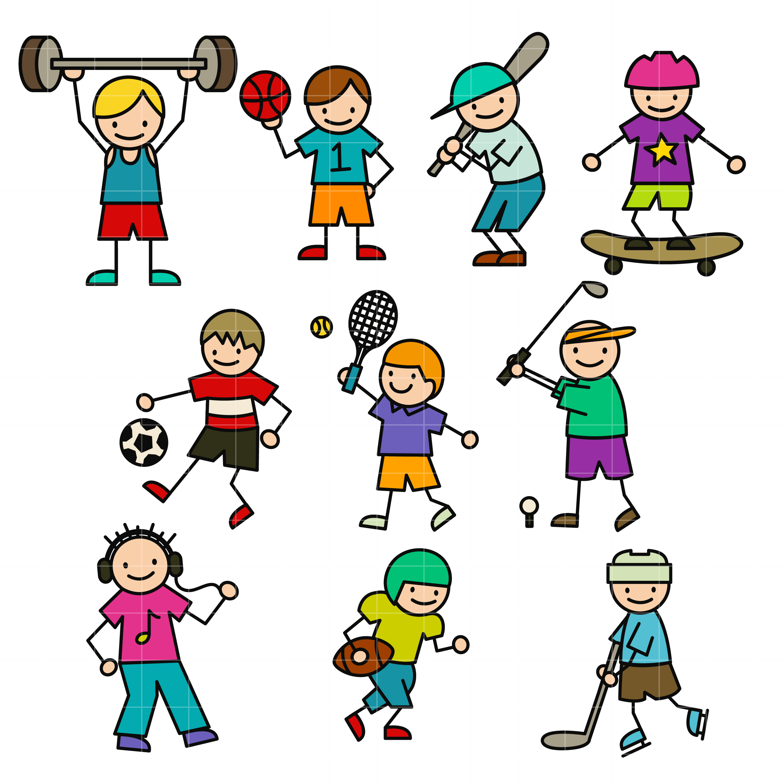 2500x2500 Sporty Stick Kids Set Semi Exclusive Clip Art Set For Digitizing