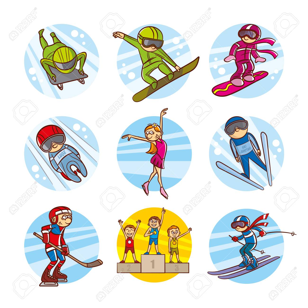 1300x1300 Cartoon Kids Sport Set Vector Clip Art Illustrations Stock Photo