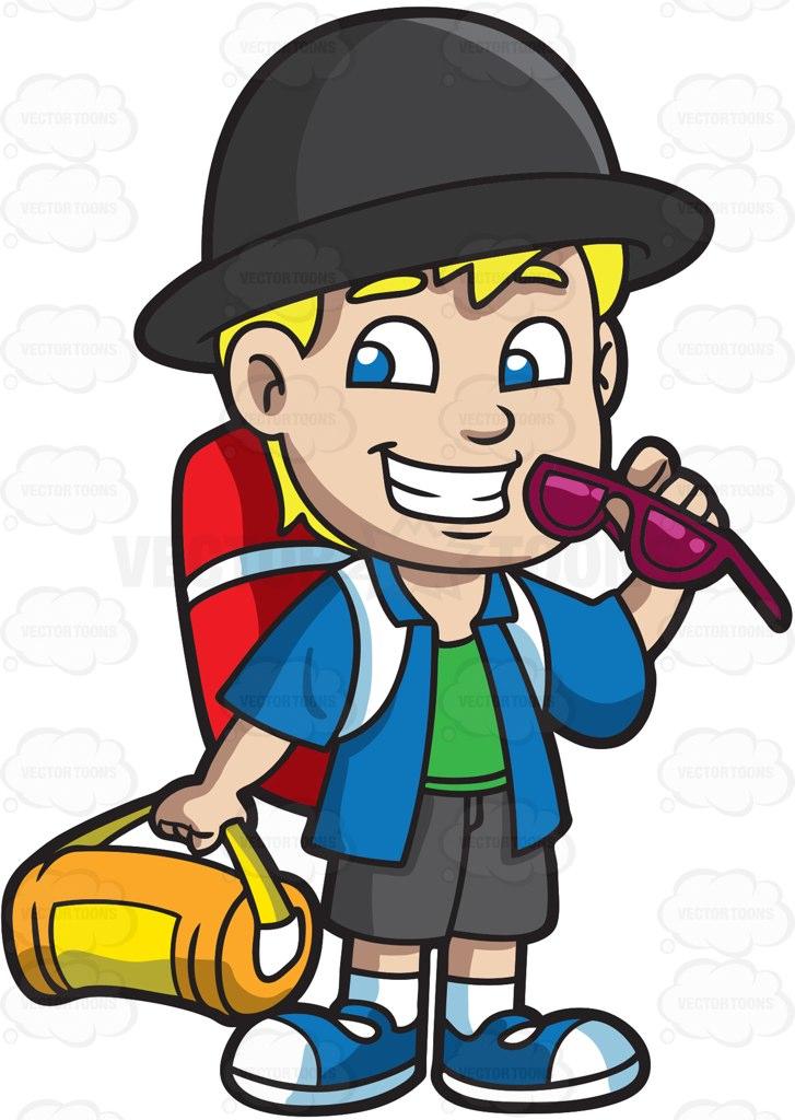 727x1024 A Boy Getting Ready For Summer Camp Cartoon Clipart