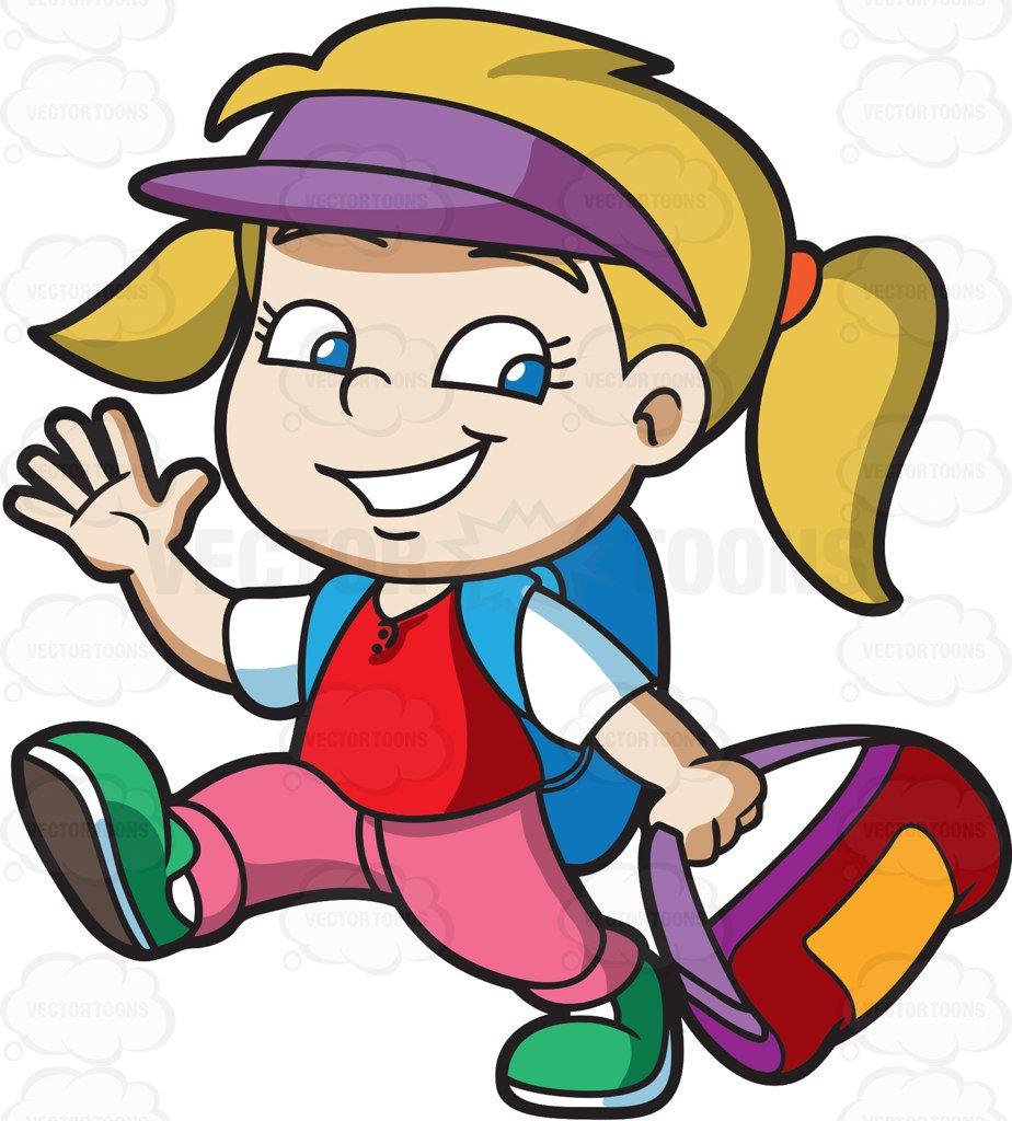 924x1024 A Girl Ready To Go To Summer Camp Cartoon Clipart