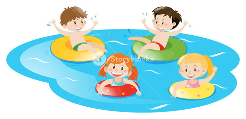 500x243 Many Kids Swimming In The Pool Illustration Royalty Free Stock