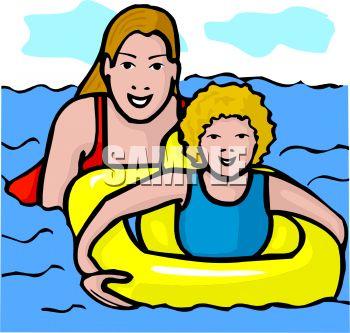 350x333 Mother Teaching Her Daughter To Swim