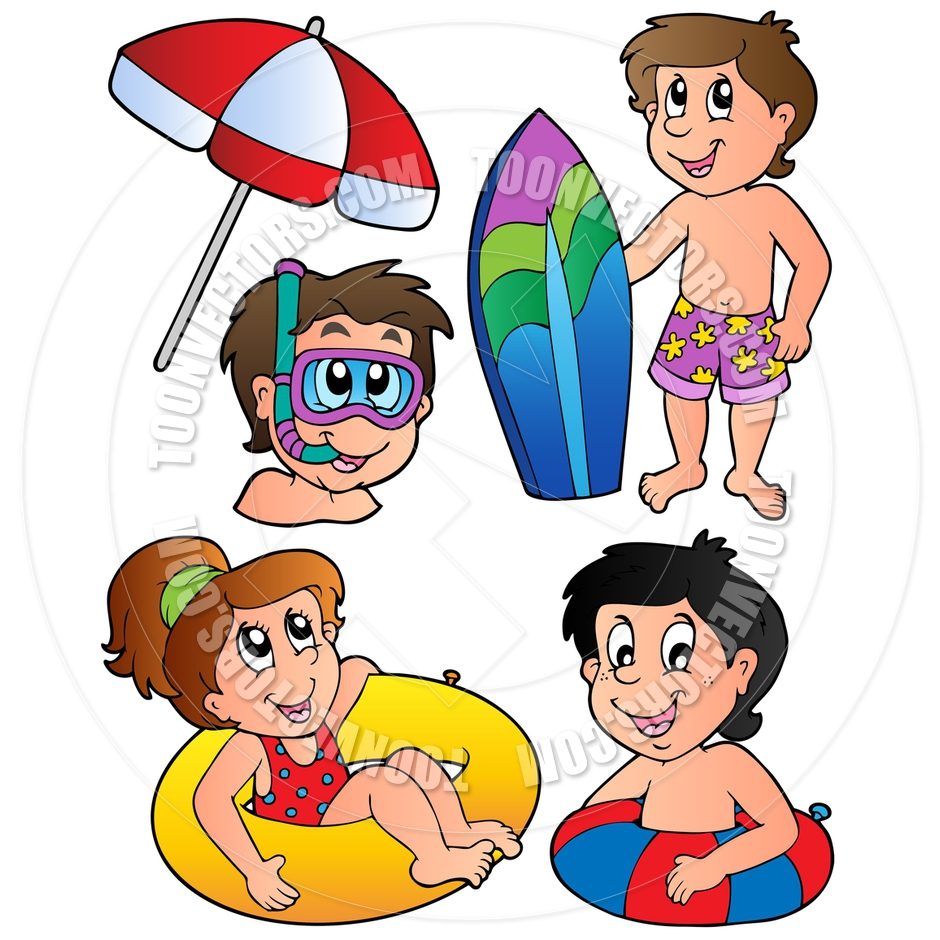 940x940 Cartoon Swimming Kids Collection By Clairev Toon Vectors Eps