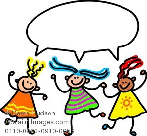 300x278 Illustration Of A Group Of Little Girls Chatting Together