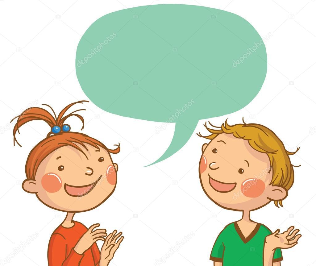 1024x862 Two Kids Talking Stock Vector Kimazo