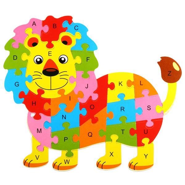600x600 26pcs Children Wooden Cute Animal Puzzle Jigsaw Alphabet Kids 3d