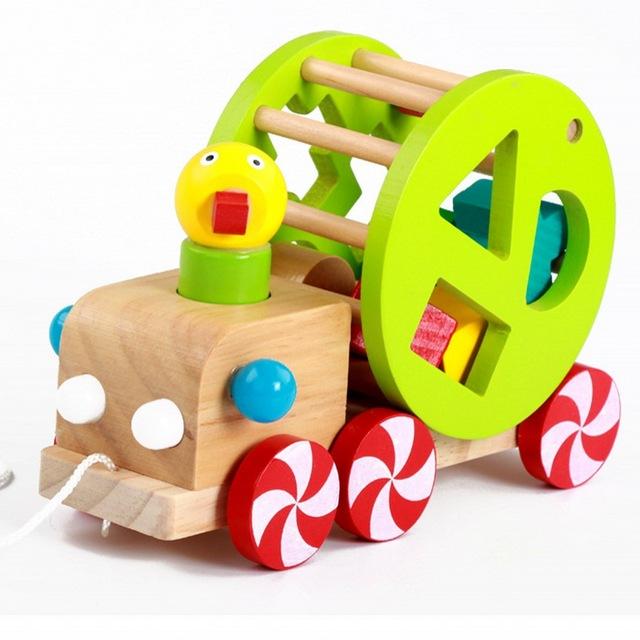640x640 Wooden Animal Trailer Children Toys Wisdom Ducks Car Educational