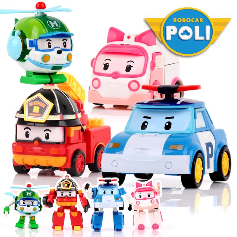 800x800 4pcsset Robocar Poli Robot Car Transformation Toys Action Anime