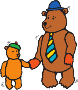 258x297 Father And Child Bear Walking Clip Art