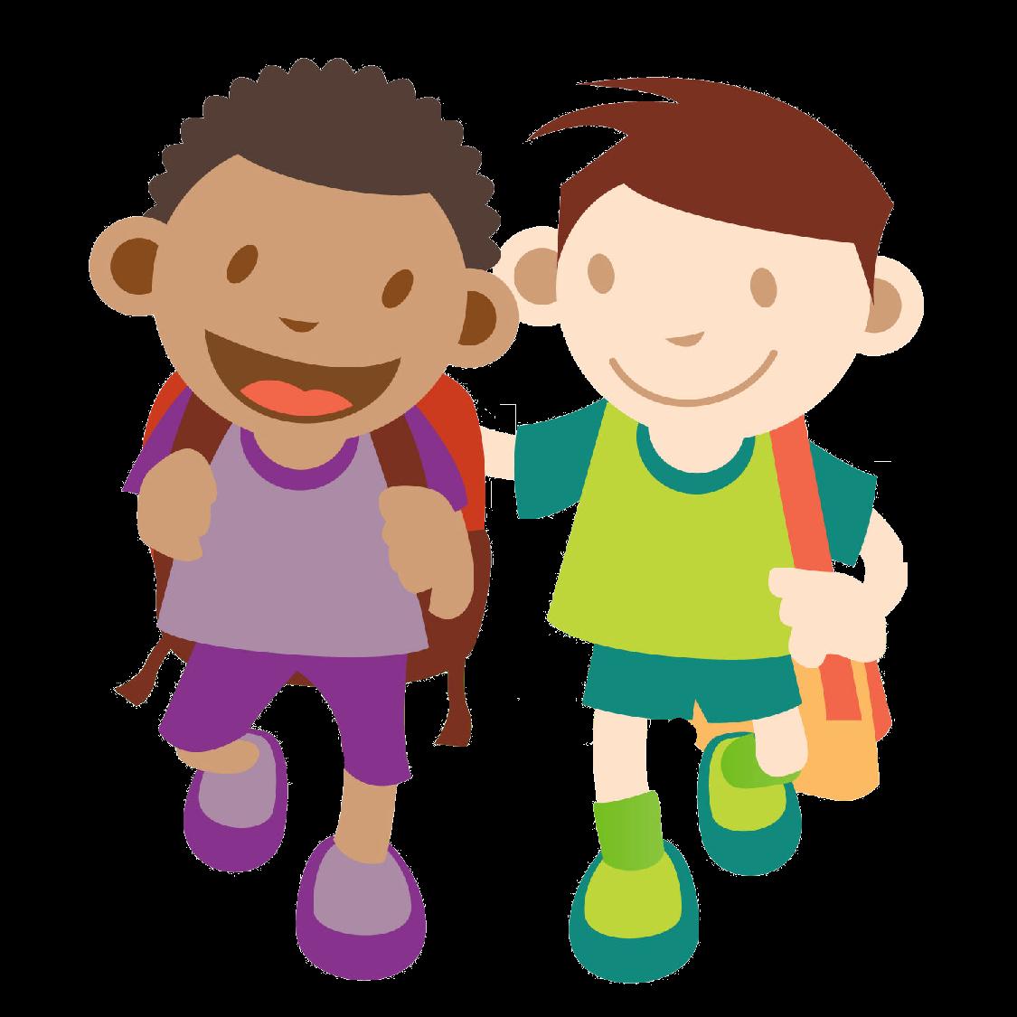 1125x1125 Kids Walking Clipart