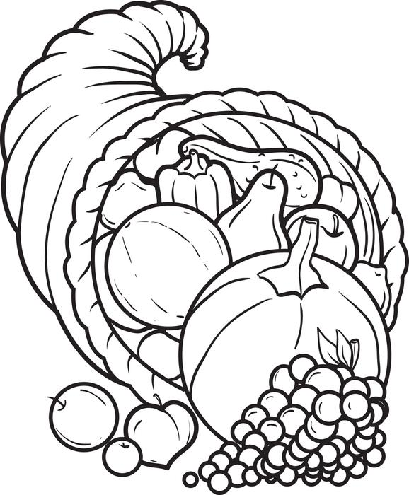 578x700 Free Printable Cornucopia Coloring Page For Kids