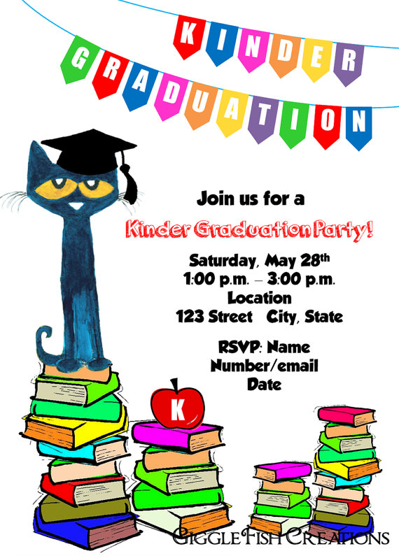 570x798 Pete The Cat Graduation Party Invitation Digital File