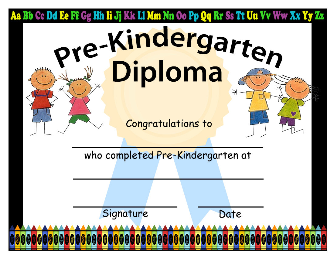 1100x850 Pre Kindergarten Graduation Diplomas Blank Graduation Best