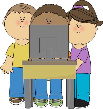 425x450 Kids Using School Computer Clip Art School