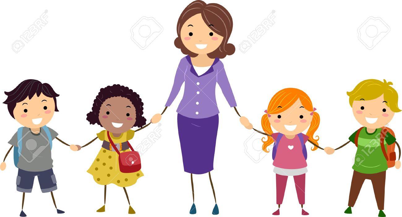 1300x702 Teacher With Kids Clipart
