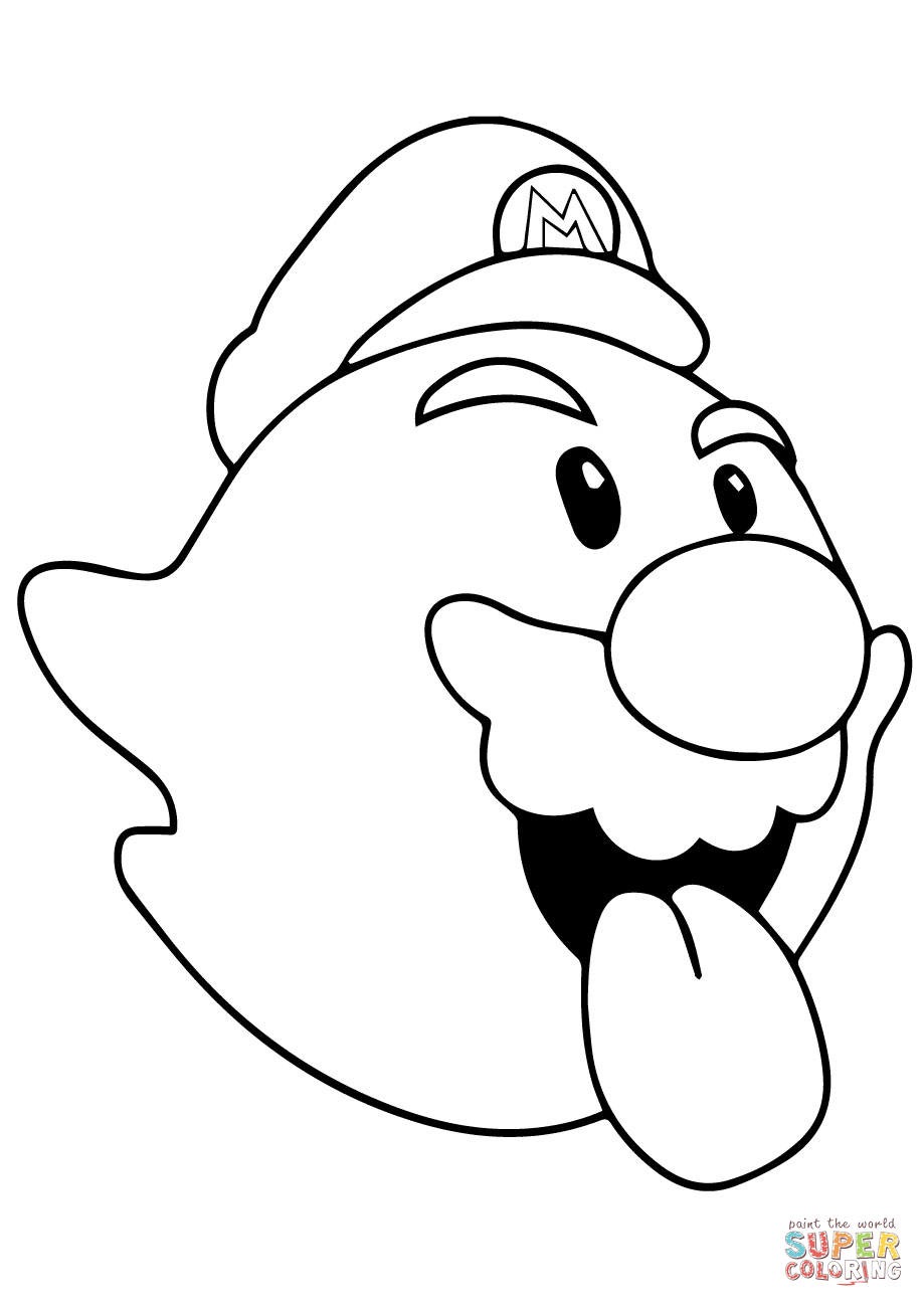 919x1300 Boo Mario Coloring Page Free Printable Pages
