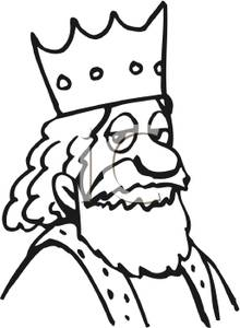 220x300 Free Clipart Image Coloring Page Of A King Wearing A Crown