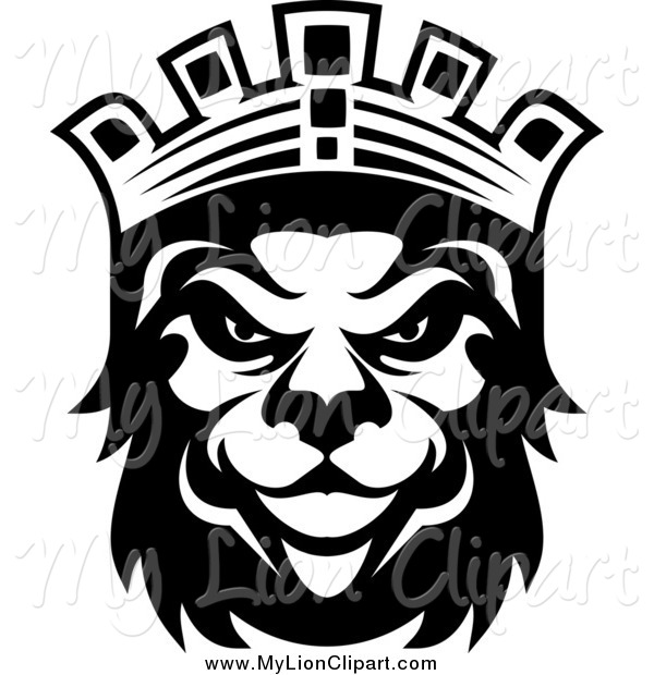 600x620 Clipart Of A Black And White Lion King By Vector Tradition Sm