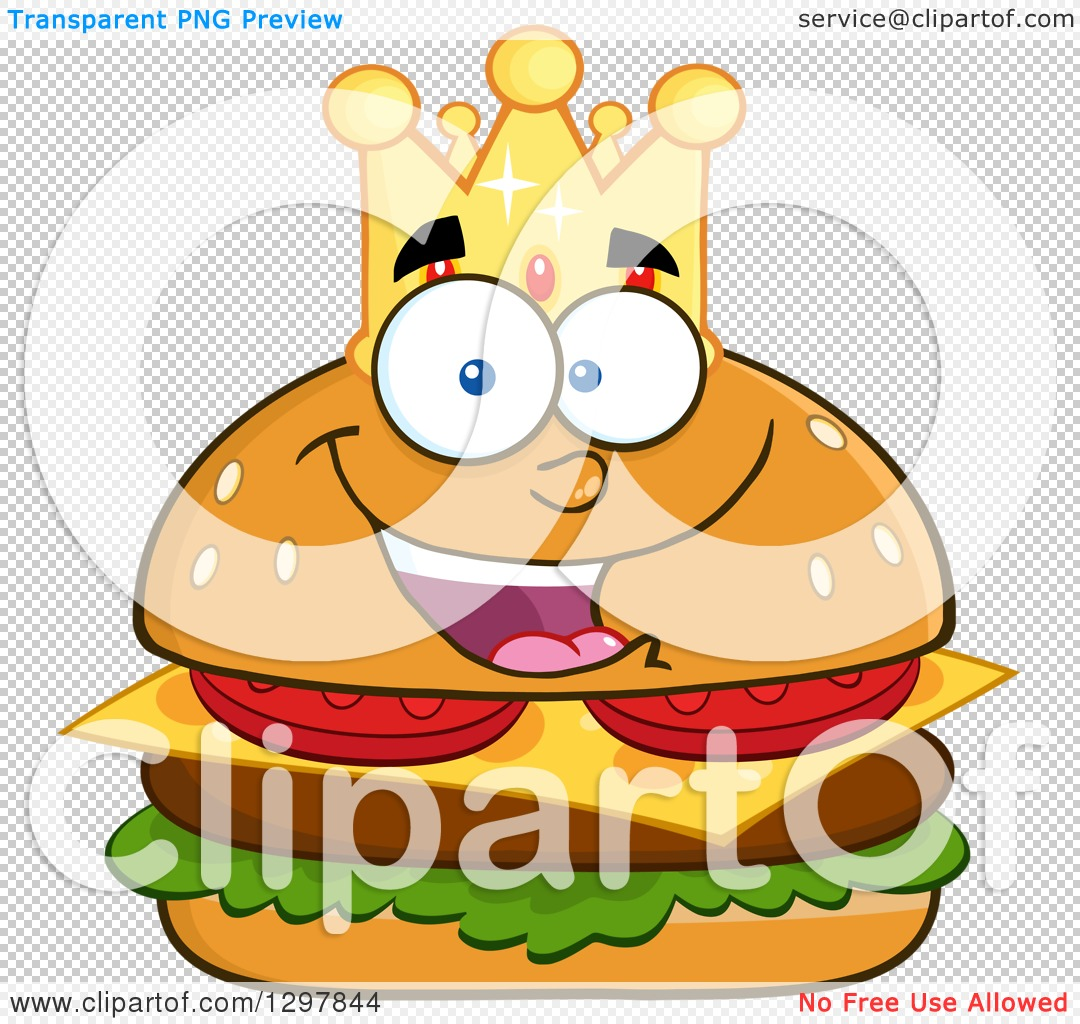 1080x1024 Clipart Of A Cartoon Cheeseburger King Character Wearing A Crown