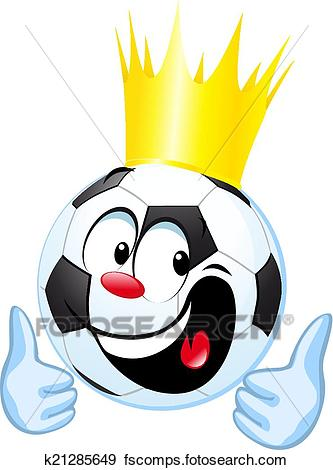 333x470 Clip Art Of Funny Soccer Ball With Royal Crown And Thumb Up