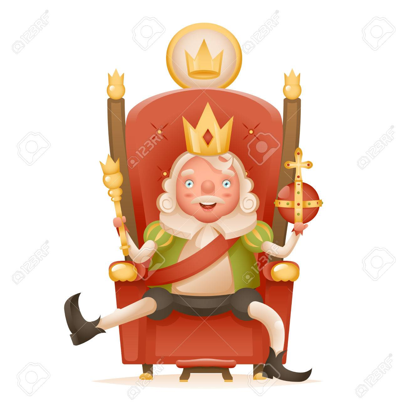 1299x1300 Cute Cheerful King Ruler On Throne Crown On Head Power And Scepter