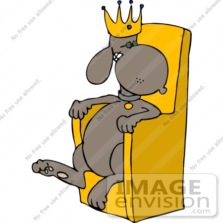 450x450 King Dog In A Crown, Sitting On A Throne Clipart
