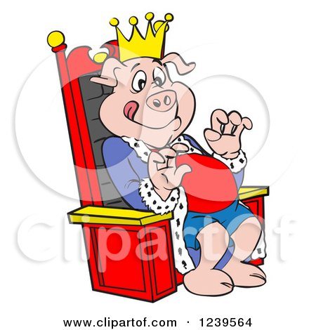 450x470 Clipart Of A Hungry Bbq King Pig Sitting On A Throne