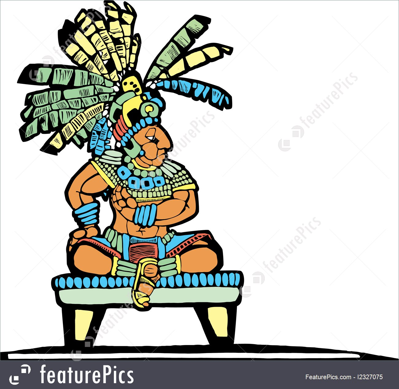 1300x1267 Illustration Of Mayan King
