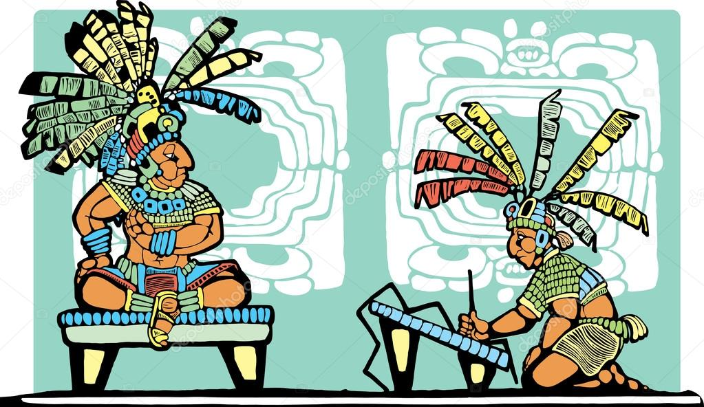 1023x592 Mayan King And Scribe Stock Vector Xochicalco