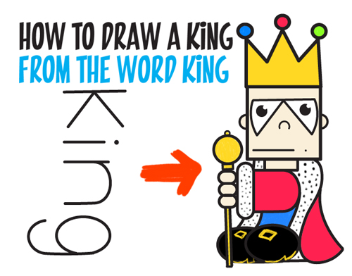 500x392 How To Draw Cartoon King From The Word Easy Step By Step Word