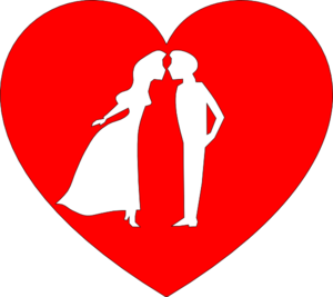 300x267 Heart With Couple Kissing Clip Art